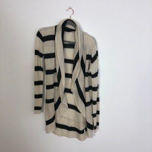 Long Black & Cream Striped Cardigan